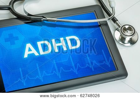 Tablet with the diagnosis adhd on the display