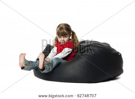 Little Girl in a bean Bag