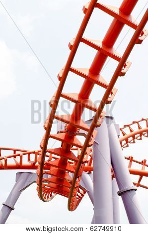 A segment of a roller coaster in amusement park