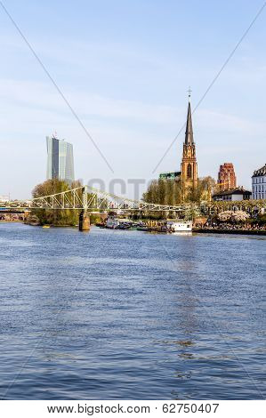 Skyline Of Frankfurt With River Main