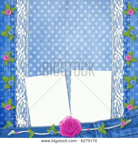 Abstract Blue Jeans Background With Lace And Buttonhole For Greeting