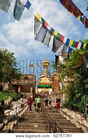 Tourists Visiting Swayambunath