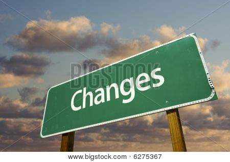 Changes Green Road Sign
