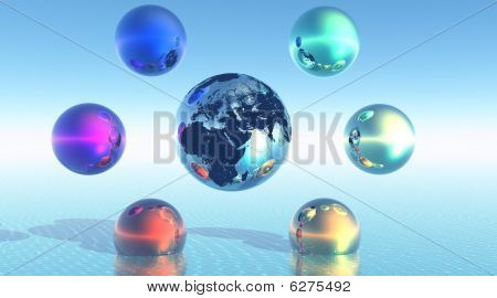 Rainbow balls around earth