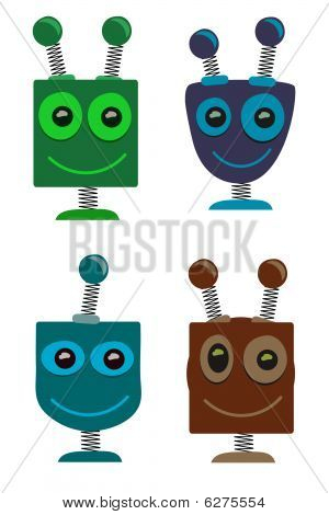 Adorable cute cartoon Robot Heads set of 4