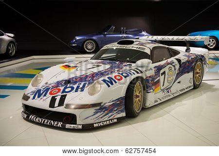 STUTTGART, GERMANY - APRIL, 2014: Porsche Museum. PORSHE 911 GT1