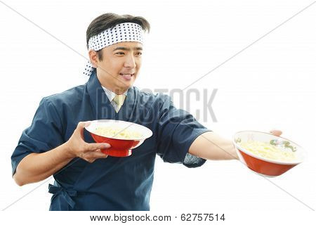 Working Asian cook