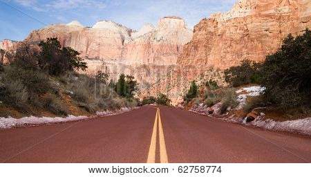 Road Through High Mountain Buttes Zion National Park Desert Southwest