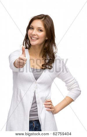 Half-length portrait of thumbing up lady, isolated on white
