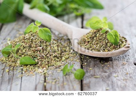 Oregano On A Wooden Spoon