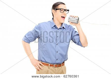 Man talking through a tin can phone isolated on white background