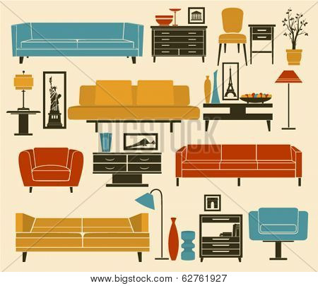 Retro Furniture and Home Accessories, including sofas, love seat, armchairs, coffee table, side tables and home decoration