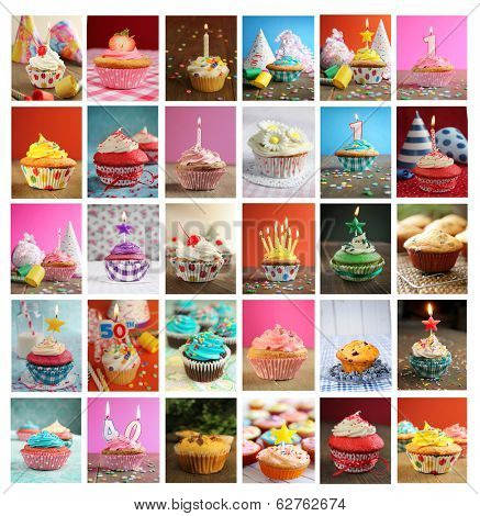 Collage showing delicious and tasty cupcakes with candles, blower and candies