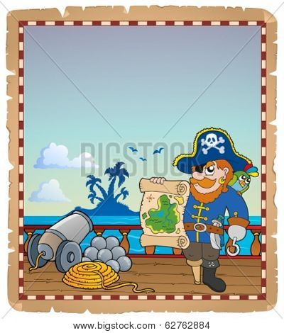 Parchment with pirate ship deck 3 - eps10 vector illustration.