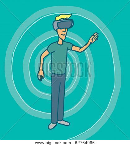 Experiencing Virtual Reality Goggles Headset