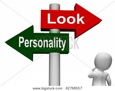 Look Personality Signpost Shows Character Or Superficial
