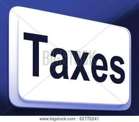 Taxes Button Shows  Tax Or Taxation