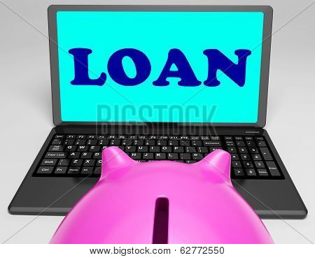 Loan Laptop Means Lending And Borrowing Money