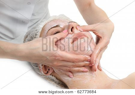 beauty salon, facial massage with scrub mask