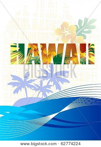 Summer holidays vector design - tropical flowers and palm tree