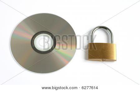 Locked Closed Padlock And Cd