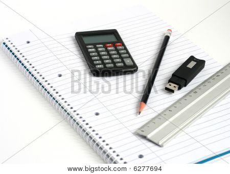 Notepad Memory Stick Calculator Ruler Pencil
