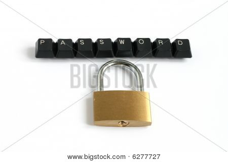 Password Written With Keyboard Keys With Padlock