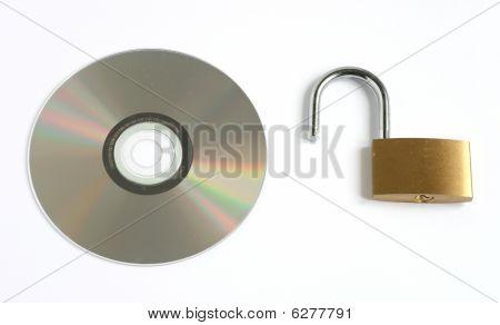 Unlocked Open Padlock And Cd