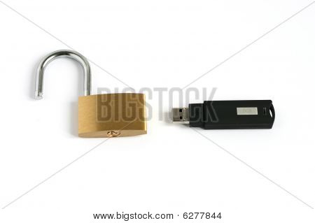 Unlocked Open Padlock With Usb Memory Stick