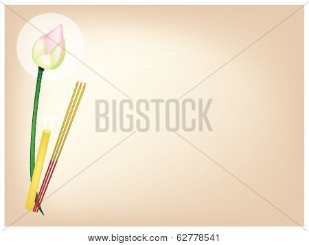 Lotus With Joss Sticks And Candle On Brown Background