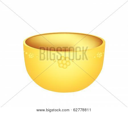 A Luxury Golden Bowl On White Background