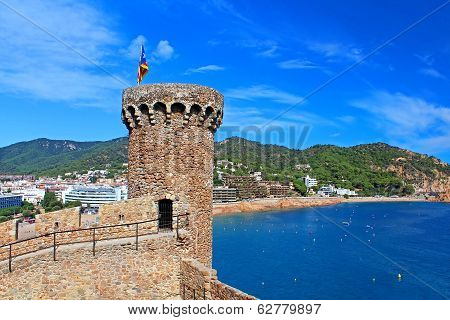 View Of Tossa De Mar Village From Ancient Castle, Costa Brava, Spain