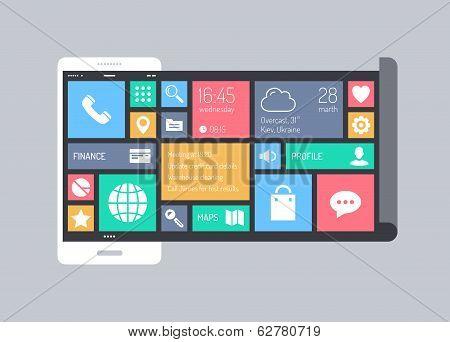 Flat Modern Mobile User Interface Concept