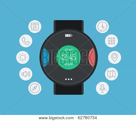 Smart Watch Design Flat Illustration Concept