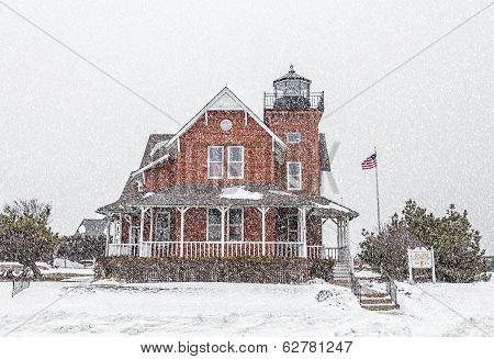 Sea Girt Lighthouse In The Snow