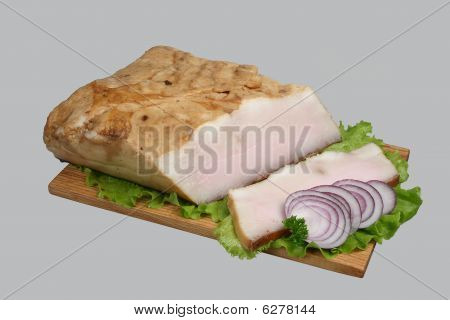 Lard On Wooden Board.