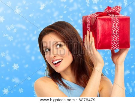 Happy Woman And  Christmas Presents