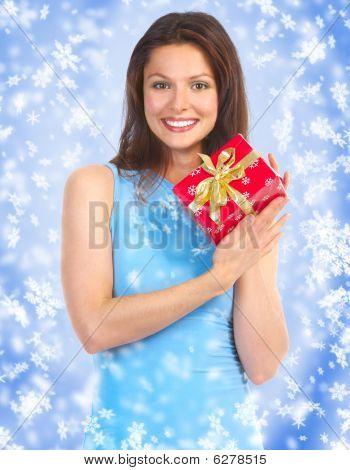 happy Woman und Weihnachtsgeschenke