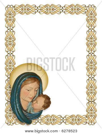 Nativity Christmas border Mary and Jesus