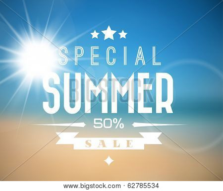 Vector abstract summer sale poster with beach background