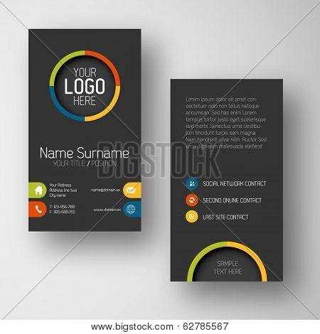 Modern simple dark vertical business card template with some placeholder