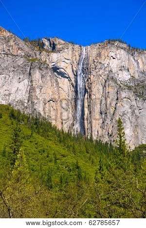 Yosemite Horsetail fall waterfall in spring California national Parks of Us