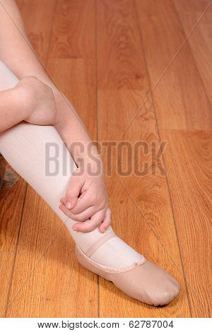 closeup ballerina leg and shoe