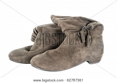 Brown Woman Boots Isolate
