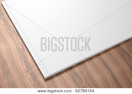 Blank Opened Catalog On The Wooden Background