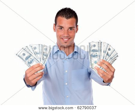 Adult Handsome Guy Holding His Cash