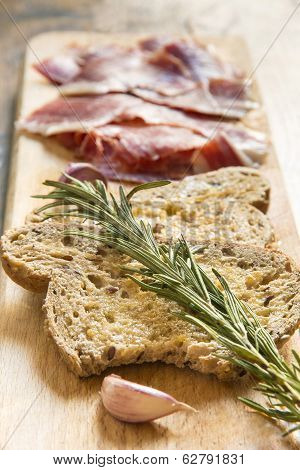 Spanish Ham With Toasts, Focus On Toasts