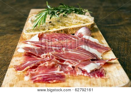 Spanish Ham With Toasts, Front View