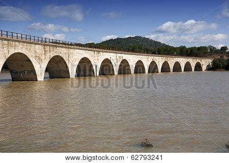 Railway line Cordoba - Almorchon view from the bridge of Los Puerros