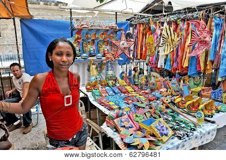 Souvenirs for sale in the main marketplace in Havana